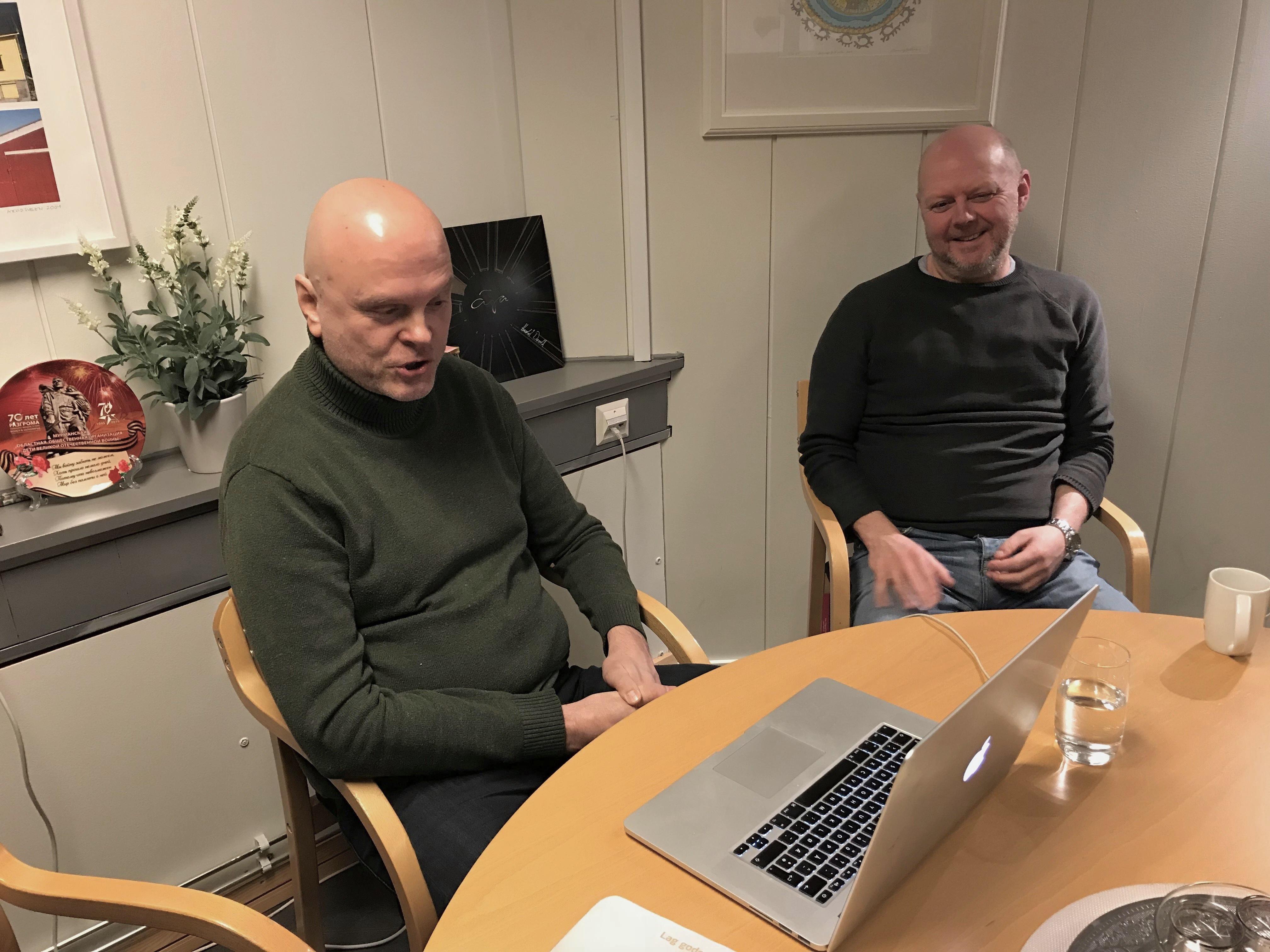 Geir P. Stokke og Arnstein Jensen på web-møte i Hermetikken